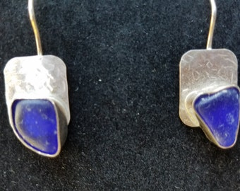 Sought after cobalt blue sea glass earrings in sterling