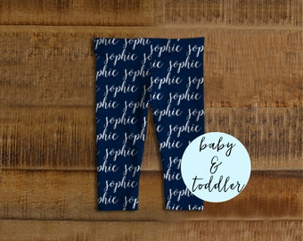 Personalized Baby Boy Gifts, Personalized Baby Leggings, Personalized Baby Clothes, Blue Baby Leggings, Personalized Toddler Gifts, Custom