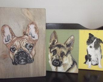 Custom Pet Portrait - Painting on Reclaimed Wood, Dog, Cat or Horse!