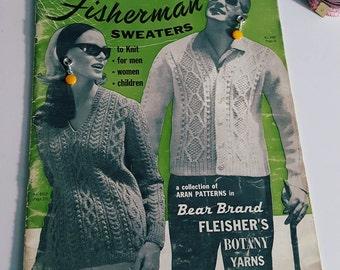 1960s Bear Brand Vol 84 Aran Fisherman Sweaters Knitting Pattern Book