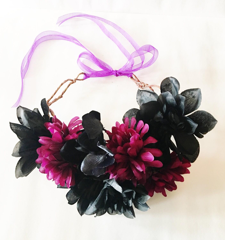 Flower Crown Purple: Halloween Flower Crown In Black And Purple // Spooky // Flower
