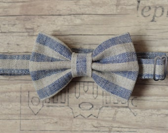 Baby Bow tie Natural linen navy striped bow tie 1st Birthday bow tie Wedding bow tie Ring bearer bow tie Baptism bow tie Page boy bowtie