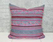 Thailand Hmong Textile Pillow Cover/Indigo Embroidered Decorative Throw Cushion Organic Hemp Ethnic Textile Hand Spun Loom Textile Boho Thai