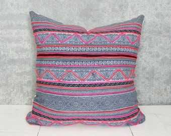 Thailand Hmong Textile Pillow Cover/Indigo Embroidered Decorative Throw Cushion Organic Hemp Ethnic Textile Hand Spun Loom Textile Boho Thai