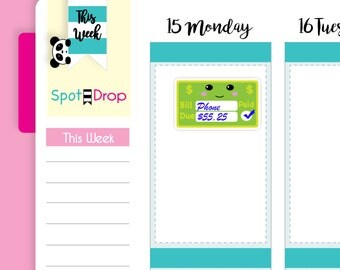 Kawaii Pay Bills Stickers, Bill Reminder Stickers, Kawaii Stickers, Functional Planner Stickers