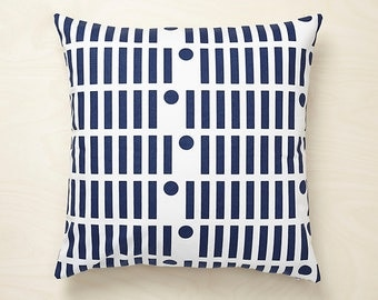 Line Dot Cushion Cover - Hand Screen Printed in Dark Blue and Grey 100% Cotton 45x45cm