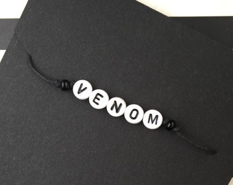 "Custom Handmade Bracelet ~ Your choice of beaded ""mature"" word bracelets: VENOM"