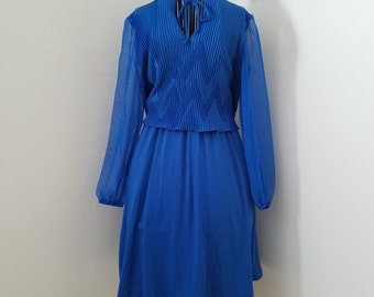 True 1960's Vintage - Beautiful Cobalt Blue Secretary/Office Dress with Sheer Long Sleeves and a Keyhole Tie at the Chest - Sizes S/M/L