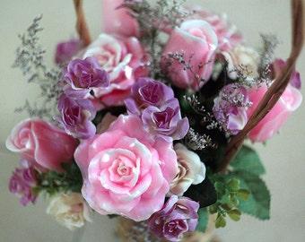 Handmade Soap Flower Bouquet, Flower Arrangement, Mothers Day Gift, Soap Roses, Flower Basket, Valentines Day Gift For Her, Home Decor