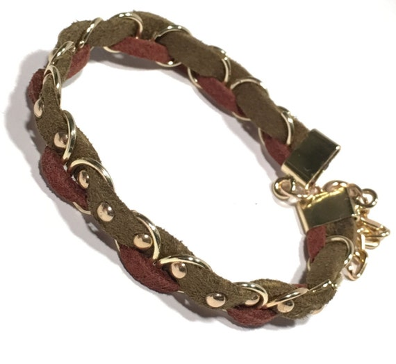 Olive, Brown Braided Bracelet | Faux Suede | Gold Studs | Studded | Braided | Bracelets | Jewelry | Multi color | Gift | Gifts | TRENZA