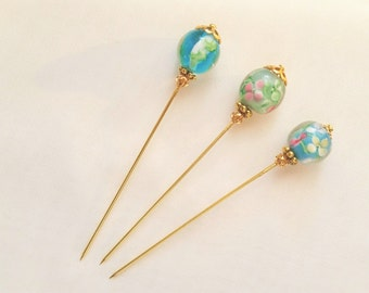 Floral Glass Stick/Hijab/Hat/Lapel Pin