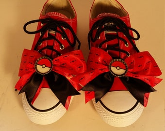 Size 7.5 Womens Red Pokemon Converse Sneakers