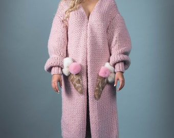 Cardigan Coat Ice cream Handmade knitted wool  Knit cardigan Fashion coat