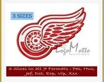 DETROIT Red WINGS EMBROIDERY designs Multi format and Multiple Sizes