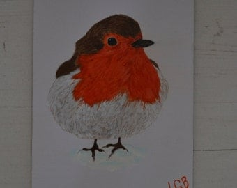 """Small Robin Painting Acrylic Medium 7""""x 5"""" On Card One Off Signed by the Artist"""