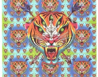Tiger 9 Pannel Blotter Art signed by artist