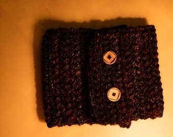 Wildberry Crocheted Cowl Scarf with Buttons