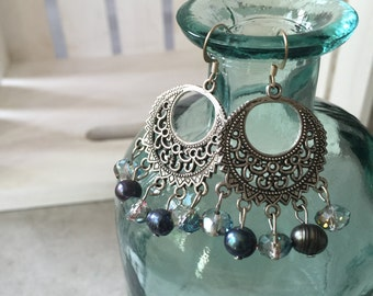 Crystal Pearl Chandelier Earrings