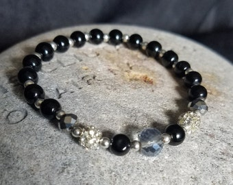 Beaded Bracelet in Black Silver and Sparkly - Stretch Bracelet, Glass Beads
