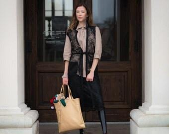 Black Vest/ Lace with wool/ Lace Vest/Elegant lace vest/ Vivastella