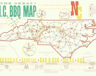 Great NC BBQ Map // POSTER