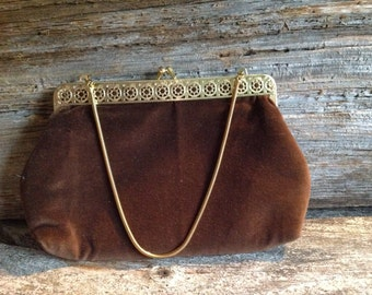 Vintage Brown Velour Gold Detailed Evening Bag/Clutch/purse/wedding/special occasion/velour/gold