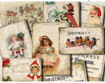 Merry Christmas gift tags / gift cards / digital collage sheets / vintage ephemera / altered art / digital paper pack / scrapbooking kit AA
