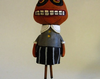 Halloween Folk Art Pumpkin Girl Figurine. Vintage Inspired, One of a Kind, Paper Clay Halloween Decoration.