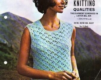 ladies crochet top pattern CROCHET PATTERN pdf womens crochet top Vintage 60s 34-40 inch DK light worsted 8ply