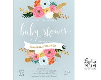 In Full Bloom Baby Shower Invitation / Flower Floral Baby Shower Invitation / Couples Coed Baby Shower Invitation / Garden Chic *Digital