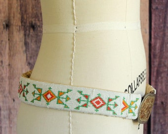 vintage handmade seed bead belt cover, Native American beaded belt, Lori