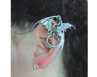 Silver dragon arwen fae larp  pointy swirly arwen elven ear cuff elfish pointy ears