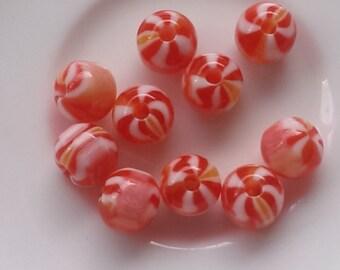 10 pcs Peach,Yellow And White Swirl Acrylic Beads 10mm x 12mm