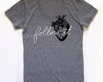 heart shirt, heart tshirt, graphic t, follow your heart, woman fashion t, gray tshirt, screen print, silkscreen, free shipping