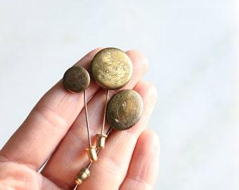 Trio of Vintage Brass Locket Stick Pins / Wedding Groomsmen Gifts