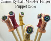 Custom Listing for CHAIGO2 for 4 Monster Eyeball Finger Puppets (Assorted Colors)