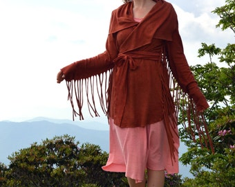 Hemp jacket, Long Fringe Shanti Jacket with belt, Light organic Hemp/cotton jersey knit, Made to order-organic hemp clothing