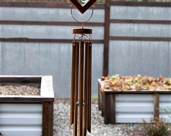 Wind Chime Colorful Kaleidoscope With Large Copper Chimes Green Blue stained glass windchimes
