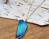 GEO Blue Morpho Butterfly Necklace, real wing preserved under glass, geometric shape, asymmetry, ombre