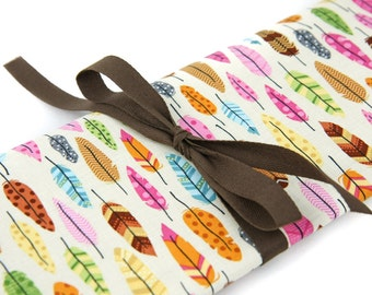 Knitting Needle Case - Feathers - 30 brown pockets for all size needles or paint brushes Large Knitting Needle Organizer Storage