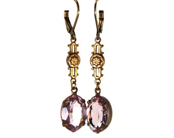 Elegant Filigree Earrings in Antiqued Brass with Light Amethyst Purple Czech Glass Stones Prong Set Antique Victorian Etruscan Revival Style