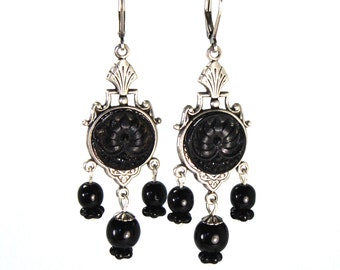 Victorian Picture Button Earrings with Czech Glass Lily of the Valley Blossoms & RARE  c.1900s Antique Black Glass Mourning Buttons Silver