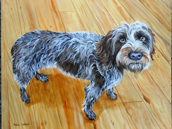 Custom Pet Portrait Painting, Oils on Stretched Canvas