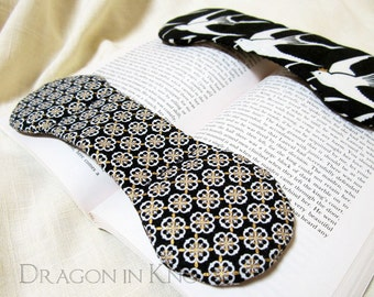 Black, White, and Gold Book Weight - medieval floral pattern page holder, book paperweight, reading aid, book accessory, booklover gift
