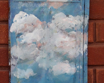 Clouds, Landscape,  Painting,  Tin Roof Shingle, Original Art,  Winjimir, Gift, Old, Rusted,  Rustic, Pioneer, Home Decor, Porch, Patio, Art
