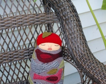 Swaddled Heathery Baby Folk Art Bird wool doll