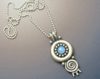 Sterling silver swirl opal pendant necklace with lovely blue solid crystal opal sterling silver bead chain