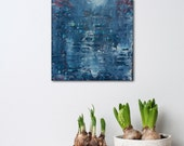"""Small Abstract Painting - Twilight - textured acrylic on wood panel - paint scrape build up - 8x8"""" - Giftable Art - Denim Blue"""
