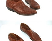 Vtg 90s Bragano for Cole Haan chestnut caramel woven leather western cowboy ankle booties women sz 9.5B
