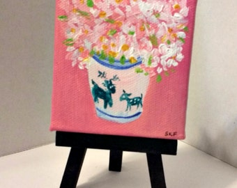Daisies Mini canvas art, Easel, deer canvas, Original acrylic painting, daisies art, blue and white vase,  acrylic painting canvas art